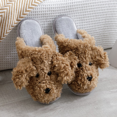 2020 Men Slippers New Winter Slippers Warm Indoor Slipper Unisex Home House Shoes Couple Cute Animal Dog Warm Cotton Slippers