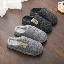 Load image into Gallery viewer, Men Winter Warm Slippers Fur Slippers Men Boys Plush Slipper Cotton Shoes Non-slip Solid Color Home Indoor Casual Slippers