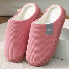 Load image into Gallery viewer, Waterproof Non-Slip Winter Men Women Home Slippers Warm Fur Cotton House Slippers Clogs Indoor Floor Memory Foam Couples Shoes