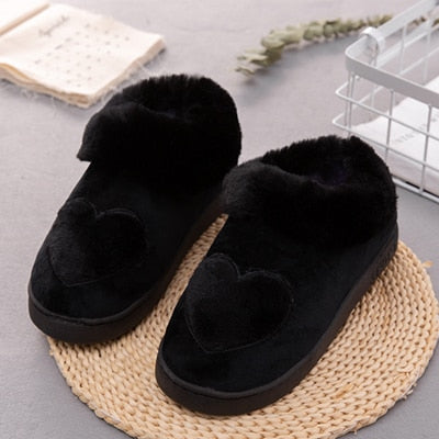 Cotton Women Slippers New Arrival Heart-Shaped  Warm Plush Winter Fur Slippers Soft Indoor Shoes Flat With Home Slippers