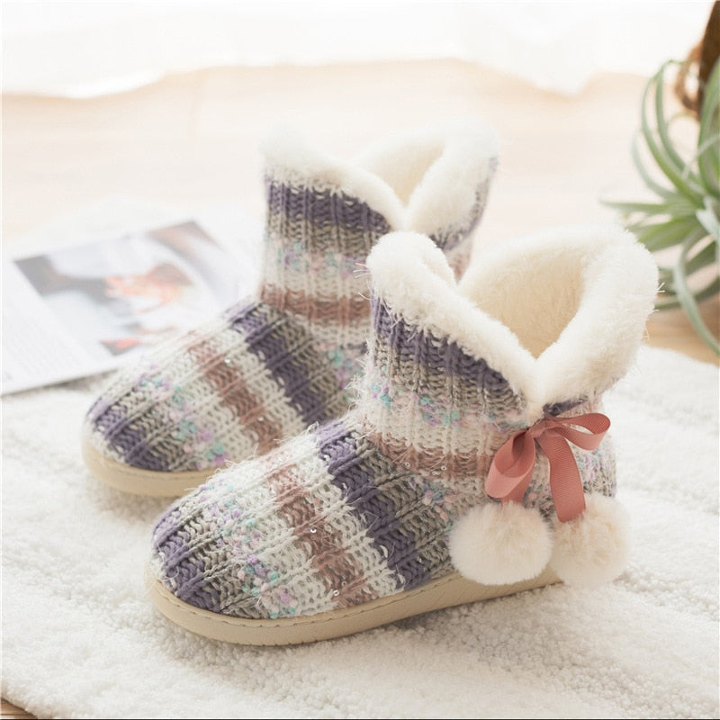 Women Household Slippers Winter Warm Plush Platform Shoes Female Casual Soft Non-slip Indoor Flat Cozy Home Slippers Woman