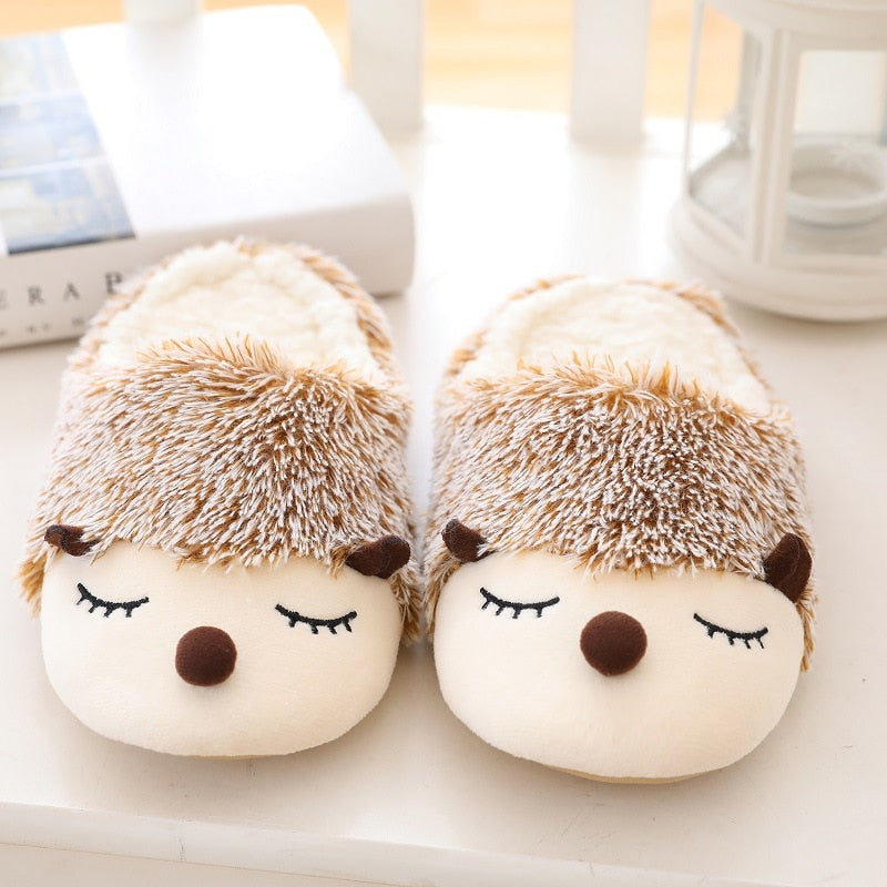 Autumn Winter Cotton Slippers Indoor Home Floor Female Slippers Little Hedgehog Cartoon Cute Female Slippers Anti Slip