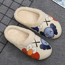 Load image into Gallery viewer, Winter Home Unisex Kids Inside Fur Slippers Beige Non-Slip Cotton Slippers Casual Shoes Couples Indoor Women Platform Slippers