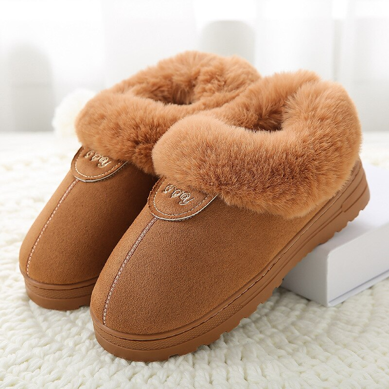 Winter Cotton Slippers Fur Suede Home Warm Plush Indoor Floor Shoes For Couples Lovers Men Women Slippers Cute Fluffy Slippers