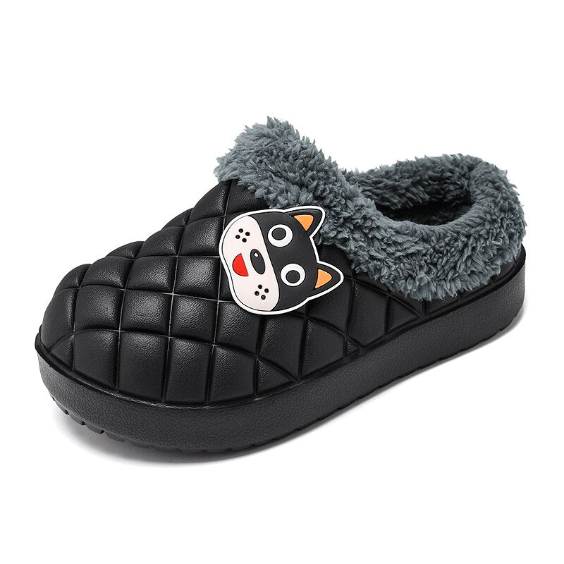Children's winter warm waterproof cotton slippers cute baby boys and girls shoes thick-soled indoor shoes