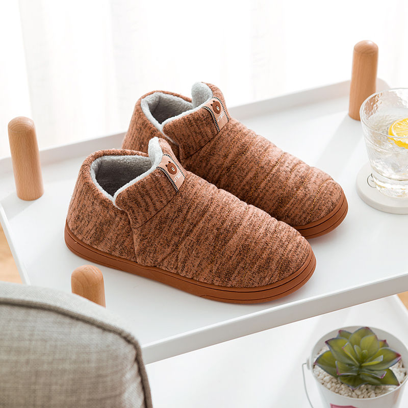Womens And Men House Shoes Warm Slippers Cotton Home Shoes Comfortable Plush Lining Slip-on Cozy House Shoes Indoor