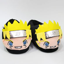 Load image into Gallery viewer, Winter plush warm cotton slippers Naruto anime cosplay cartoon graphics men and women slippers cute family shoes adult model