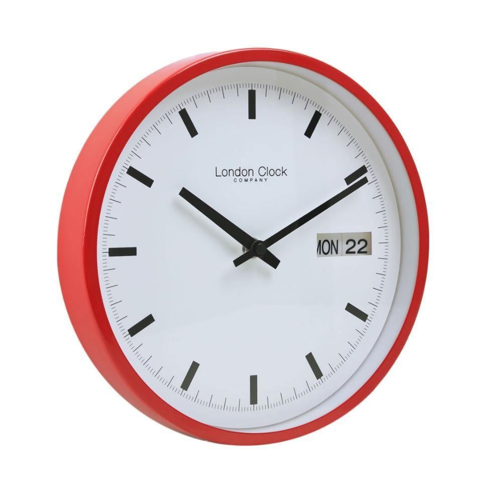 Red Day Date Case Wall Clock by London Clock Company