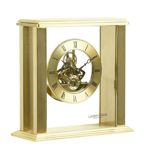 Gold Simple Framed Skeleton Mantel Clock by London Clock Company