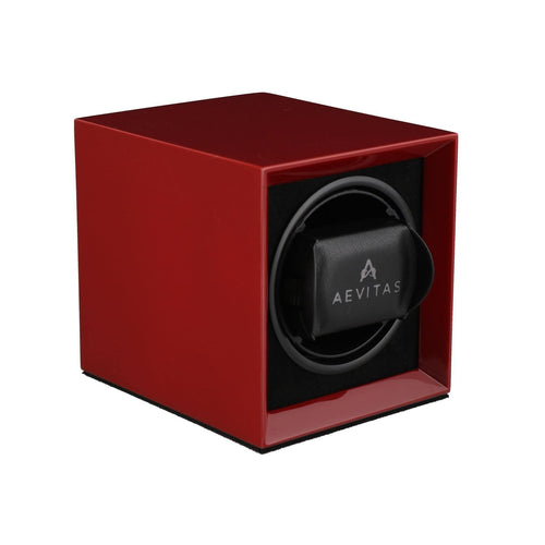 Watch Winder for 1 Automatic Watch in Claret Red Mains or Battery by Aevitas Gifts in Time