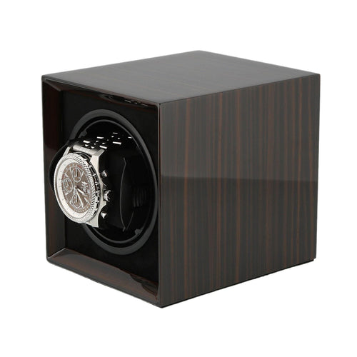 Macassar Wood Watch Winder for 1 Watch with Rechargeable Battery by Aevitas