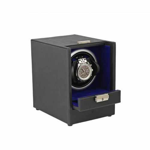 Black Genuine Leather Watch Winder - Slide Away Door - Royal Blue Velvet Lining by Aevitas