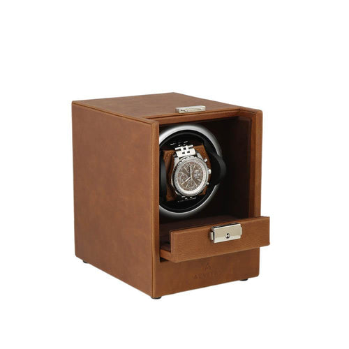 Brown Genuine Leather Watch Winder - Slide Away Door - Deep Brown Velvet Lining by Aevitas