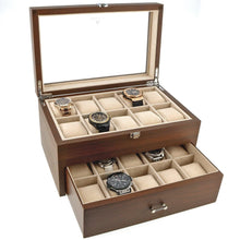Load image into Gallery viewer, Natural Walnut Watch Collectors Box with Drawer for 20 Wrist watches by Aevitas