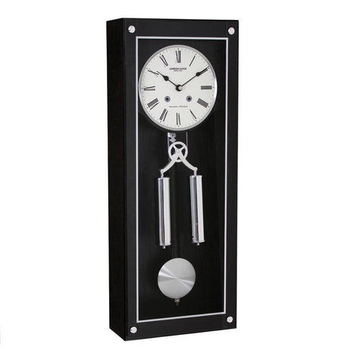 Modern Contemporary Black Pendulum Chiming Wall Clock by London Clock Company