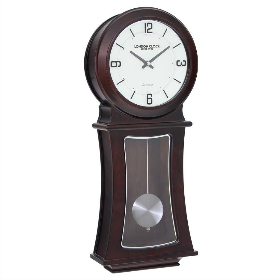 Traditional with a Mordern twist Mahogany Wood Pendulum Chiming Wall Clock