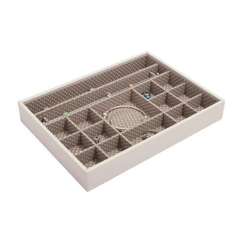 Vanilla with Mocha Lining Classic Size Stackers Jewellery Box Charm Bar layer Tray