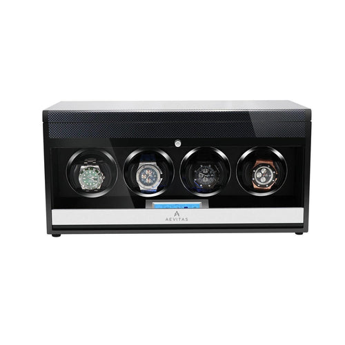 4 Watch Winder in Carbon Fibre Finish by Aevitas