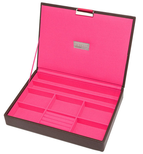 Stackers Brown with Hot Pink Interior Jewellery Box Top
