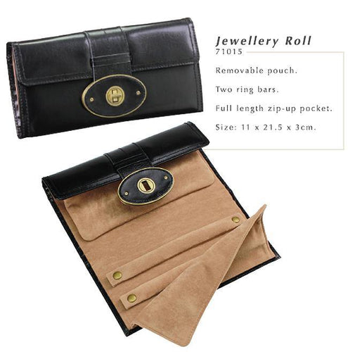 Heritage Black Premium Leather Jewellery Roll by Dulwich Designs