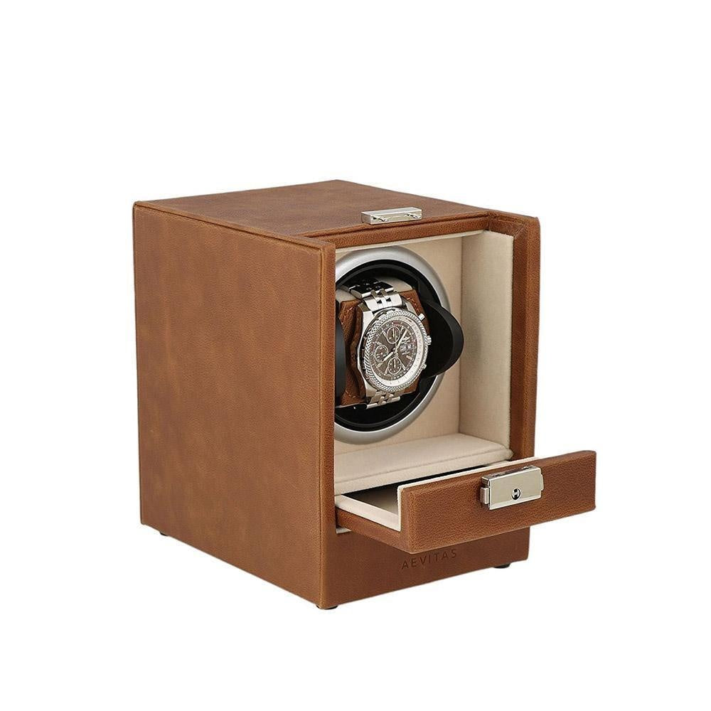 Brown Genuine Leather Watch Winder - Slide Away Door - Beige Velvet Lining by Aevitas