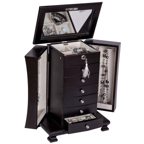 Hour Glass Black Java Finish Wooden Jewellery Box - Layla by Mele & Co