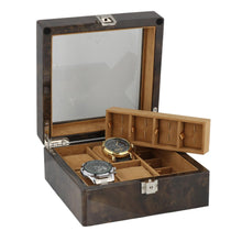 Load image into Gallery viewer, 8 Pair Cufflinks and 4 Piece Watch Collectors Box in Dark Burl Wood by Aevitas