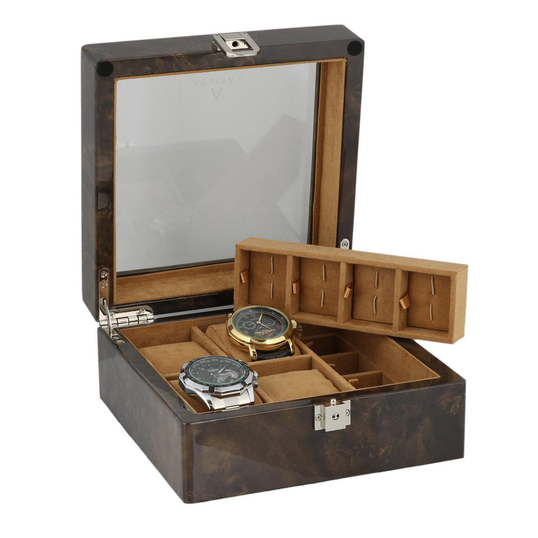 8 Pair Cufflinks and 4 Piece Watch Collectors Box in Dark Burl Wood by Aevitas