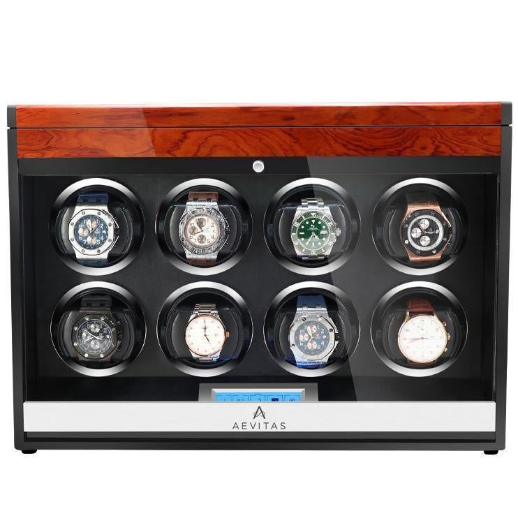 Aevitas Watch Winder for Eight Automatic Watches in Mahogany Finish