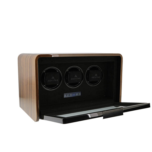 Watch Winder for 3 Automatic Watches Light Walnut Finish the Premier Collection V2 by Aevitas