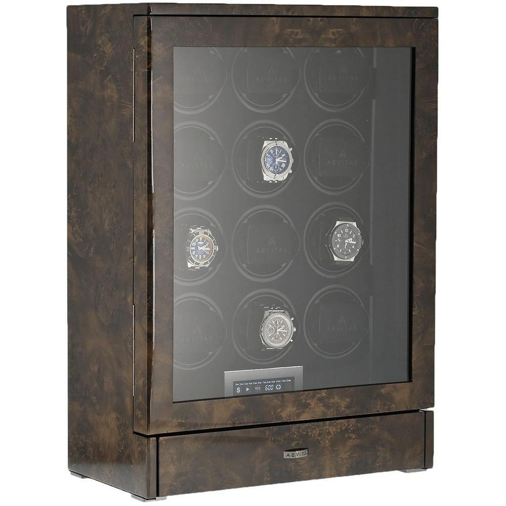 Watch Winder for 12 Automatic Watches in Dark Burl Wood Finish the Tower Series by Aevitas