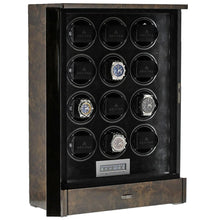 Load image into Gallery viewer, Watch Winder for 12 Automatic Watches in Dark Burl Wood Finish the Tower Series by Aevitas