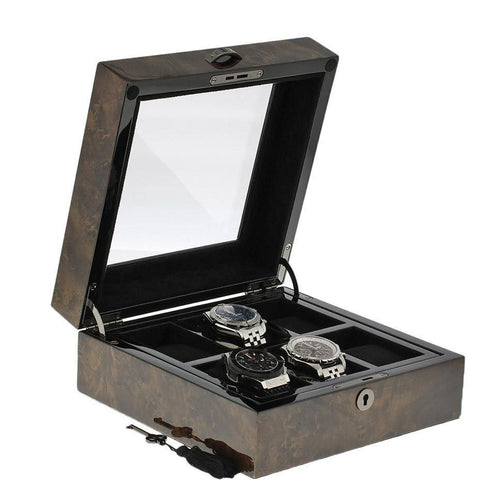 Premium Quality Dark Burl Wood Finish Watch Collectors Box for 6 Watches by Aevitas