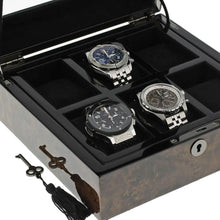 Load image into Gallery viewer, Premium Quality Dark Burl Wood Finish Watch Collectors Box for 6 Watches by Aevitas