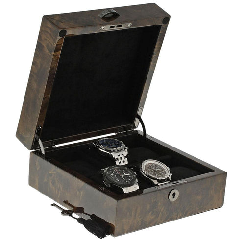 Premium Quality Dark Burl Wood Finished Watch Collectors Box for 6 Watches with Solid Lid by Aevitas