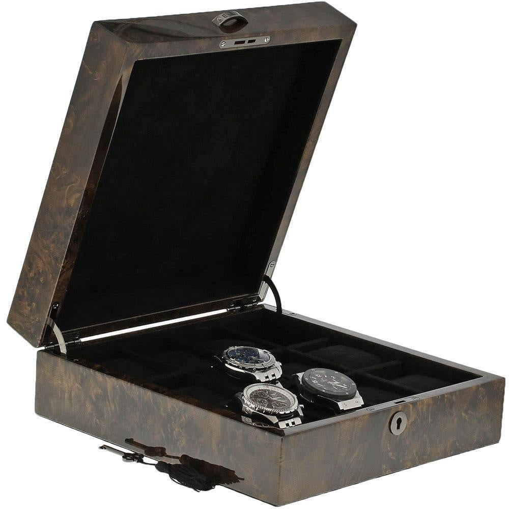 Premium Quality Dark Burl Wood Finish Watch Collectors Box for 12 Watches with Solid Lid by Aevitas