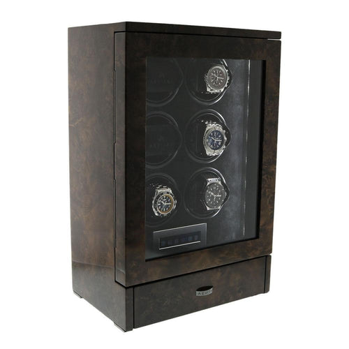 Watch Winder for 6 Automatic Watches in Dark Burl Wood Finish the Tower Series by Aevitas