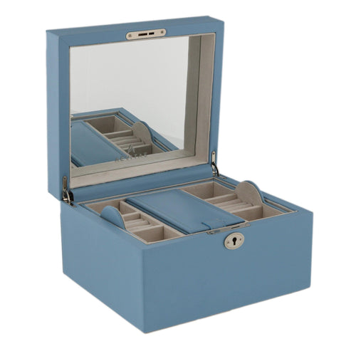 Finest Quality Large Size Wedgewood Blue Bonded Leather Jewellery Box by Aevitas