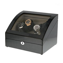 Load image into Gallery viewer, Quad Carbon Fibre Automatic Watch Winder with Extra Storage for 4 other Watches by Aevitas