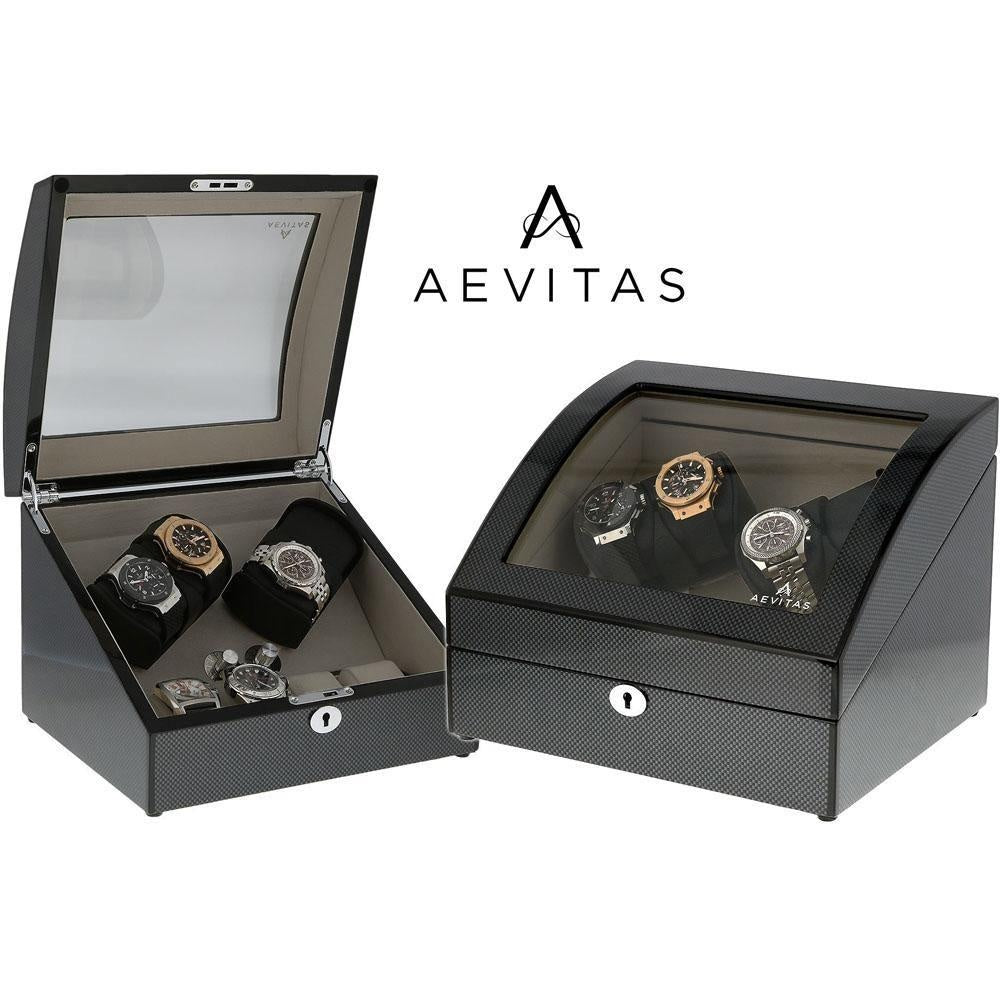 Quad Carbon Fibre Automatic Watch Winder with Extra Storage for 4 other Watches by Aevitas