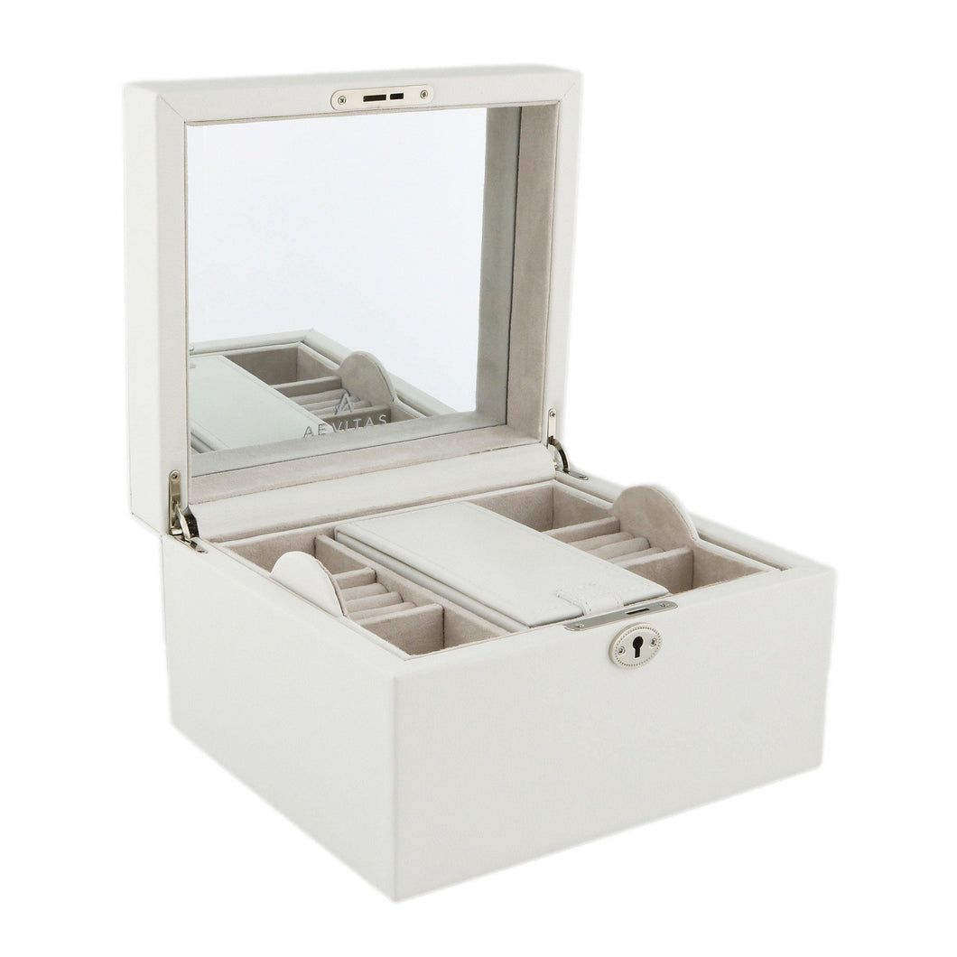 Finest Quality Large Size Ivory Bonded Leather Jewellery Box by Aevitas