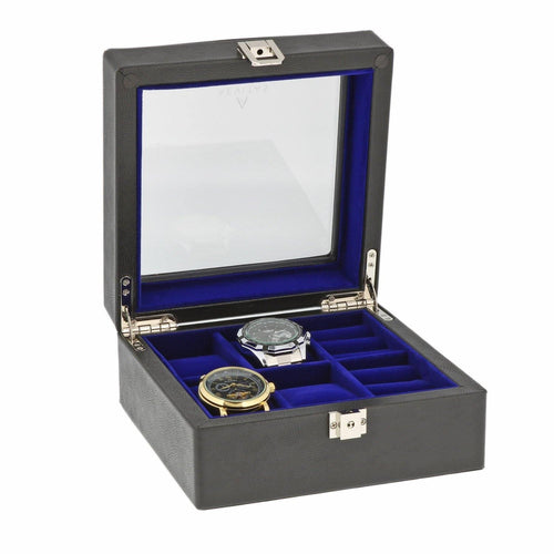 Black Genuine Leather 4 Watch + 4 Pair Cufflink Collectors Box Royal Blue Velvet Lining by Aevitas