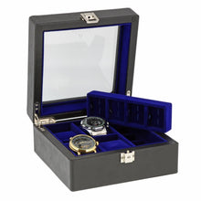 Load image into Gallery viewer, Black Genuine Leather 4 Watch + 8 Pair Cufflink Collectors Box Royal Blue Velvet Lining by Aevitas