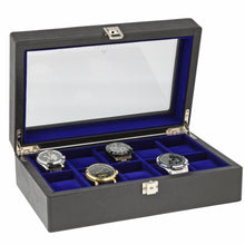 Load image into Gallery viewer, Black Genuine Leather Watch Collectors Box for 10 Wrist Watches Royal Blue Velvet Lining by Aevitas