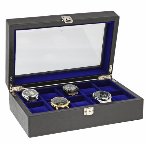 Black Genuine Leather Watch Collectors Box for 10 Wrist Watches Royal Blue Velvet Lining by Aevitas