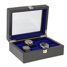Load image into Gallery viewer, Black Genuine Leather Watch Collectors Box for 8 Wrist Watches Royal Blue Velvet Lining by Aevitas