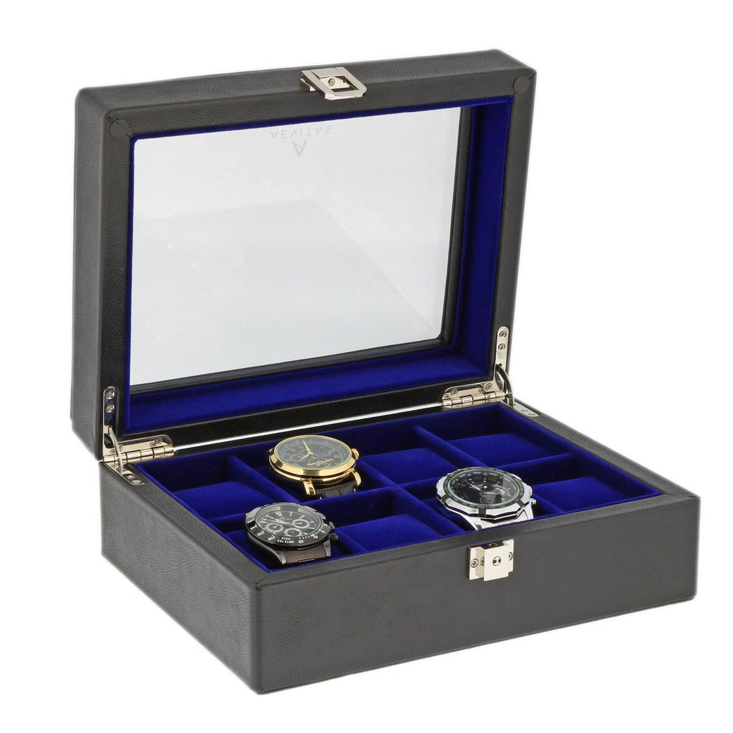 Black Genuine Leather Watch Collectors Box for 8 Wrist Watches Royal Blue Velvet Lining by Aevitas