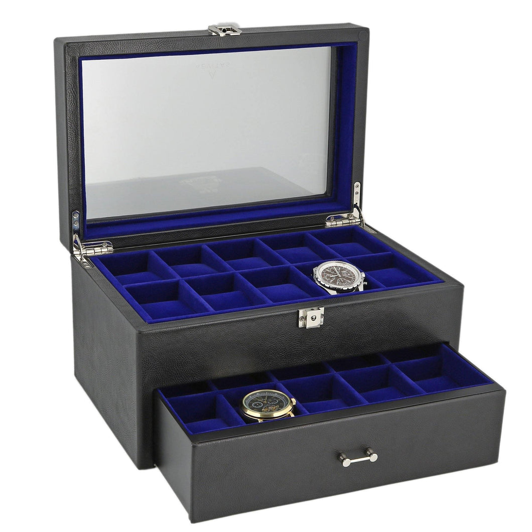 Black Genuine Leather Watch Collectors Box with Drawer for 20 Wrist watches by Aevitas