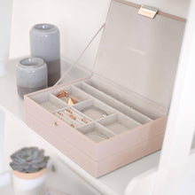 Load image into Gallery viewer, Blush Pink with Rose Gold Clasp Classic Size Stackers Lidded Tray