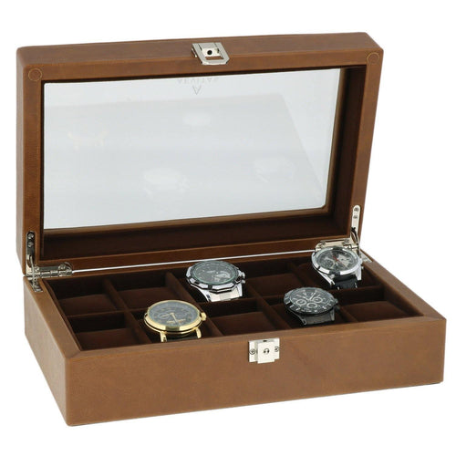 Cognac Brown Genuine Leather Watch Collectors Box for 10 Wrist Watches Brown Velvet Lining by Aevitas
